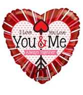 "18"" I Love You & You Love Me Foil Balloon"