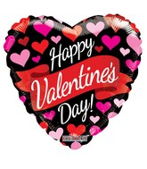 "9"" Happy Valentine&#39s Day Banner & Hearts Non Foil Balloon"