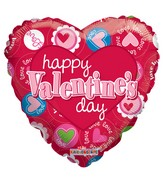 "9"" Happy Valentine's Day Many Hearts"