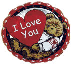 "18"" I Love You Teddy Bear With Heart Balloon"
