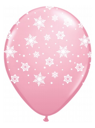 "11"" Qualatex Snowflakes Pink (50 Count)"