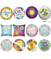 "8 Pcks 18"" Hospital Messages Asstd Balloons & Clips"