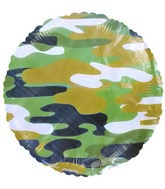 "18"" Green Camouflage Foil Balloon Round Circle"