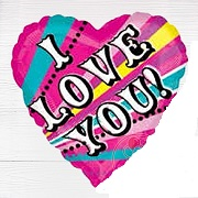 "18"" Love You Retro Mylar Balloon"