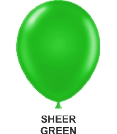 "9"" Sheer Party Style Latex Balloons (100 CT) Green"