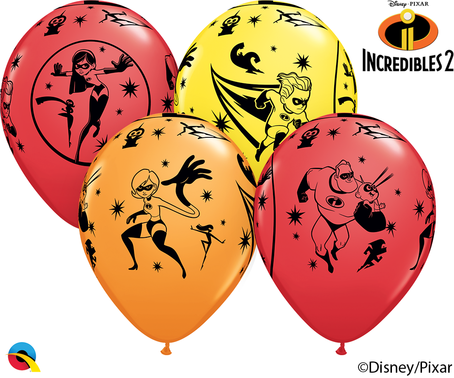 "11"" Latex Balloons Disney. Incredibles 25 Per Bag"