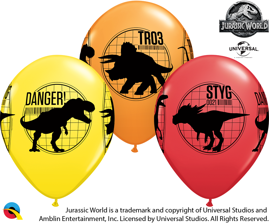 "11"" Latex Balloons Jurassic World 25 Per bag"