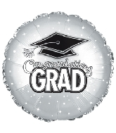 "17"" Grad Hat Platinum Foil Balloon"