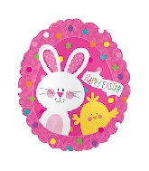 "20"" Happy Easter Bunny & Chick Foil Balloon"