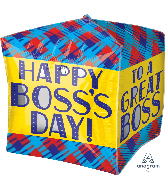 "15"" Cubez Boss's Day Plaid Foil Balloon"