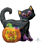 "28"" Black Cat And Pumpkin Foil Balloon"