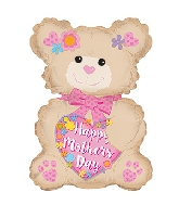 "12.5"" Airfill Only Happy Mother&#39s Day Latte Bear Balloon"