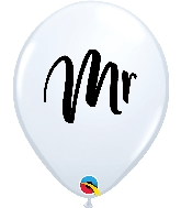 "11"" Mr. Printed White Latex Balloon"
