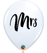 "11"" Mrs. Printed White Latex Balloon"