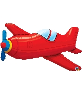 "36"" Red Vintage Airplane Foil Balloon"