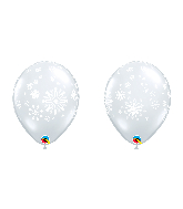 "11"" Latex Balloons Snowflakes Clear 50 Per bag"