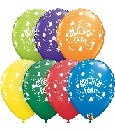 "11"" Bonne Fete Musical Latex Balloons 50 Count"