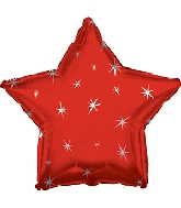 "9"" Airfill Only Red Sparkle Star Foil Balloon"
