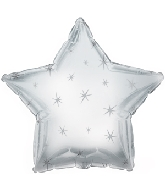 "9"" Airfill Only Platinum Sparkle Star Foil Balloon"