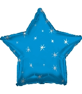 "9"" Airfill Only Blue Sparkle Star Foil Balloon"