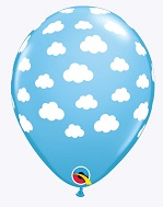 "11"" Blue Sky White Clouds Latex Balloons"