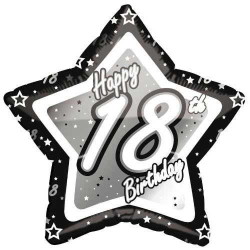 "18"" Black & Silver ""18"" Birthday Foil Balloon"