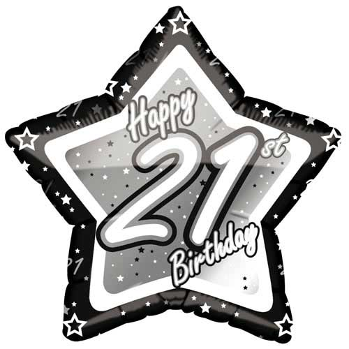 "18"" Black & Silver ""21"" Birthday Foil Balloon"