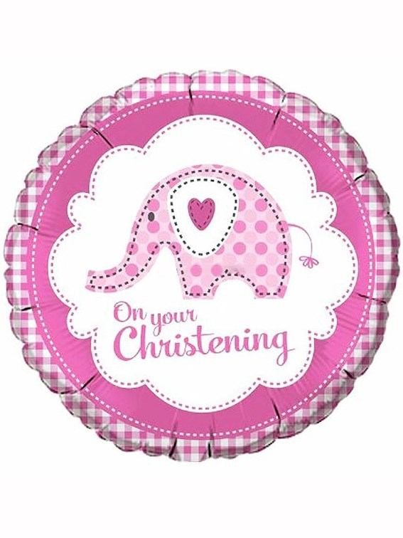 "18"" Baby Ele Christening Pink Foil Balloon"
