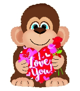 "22""I Love You Holding Roses Monkey Foil Balloon"