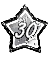 "18"" Black & Silver ""30"" Birthday Foil Balloon"