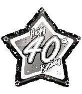 "18"" Black & Silver ""40"" Birthday Foil Balloon"