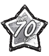 "18"" Black & Silver ""70"" Birthday Foil Balloon"