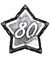 "18"" Black & Silver ""80"" Birthday Foil Balloon"