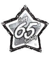"18"" Black & Silver ""65"" Birthday Foil Balloon"