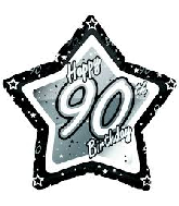 "18"" Black & Silver ""90"" Birthday Foil Balloon"