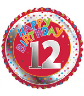 "18"" Children&#39s Milestone ""12"" Happy Birthday Foil Balloon"
