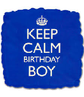 "18"" Keep Calm - Birthday Boy Blue Foil Balloon"