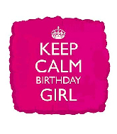 "18""Keep Calm - Birthday Girl Pink Foil Balloon"