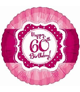"18"" Perfect Pink ""60"" Happy Birthday Foil Balloon"