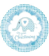 "18"" Baby Ele Christening Blue Foil Balloon"