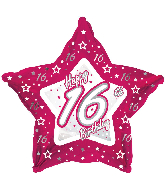 "18"" Pink & Silver ""16"" Happy Birthday Foil Balloon"