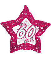 "18"" Pink & Silver ""60"" Happy Birthday Foil Balloon"