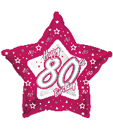 "18"" Pink & Silver ""80"" Happy Birthday Foil Balloon"