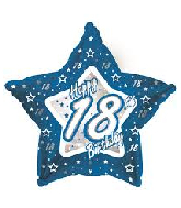 "18"" Blue & Silver ""18"" Happy Birthday Foil Balloon"