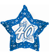 "18"" Blue & Silver ""40"" Happy Birthday Foil Balloon"
