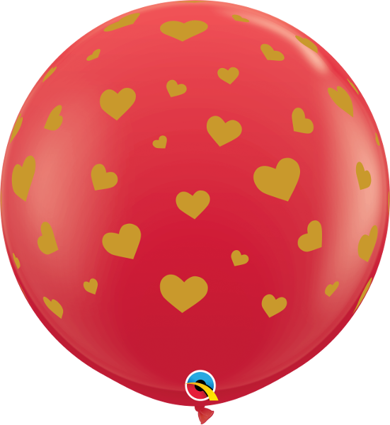 "36"" Random Hearts Red (2 Per Bag) Latex Balloons"