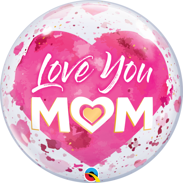 "22"" Round Love You M(HEART)M Pink Bubble Balloon"