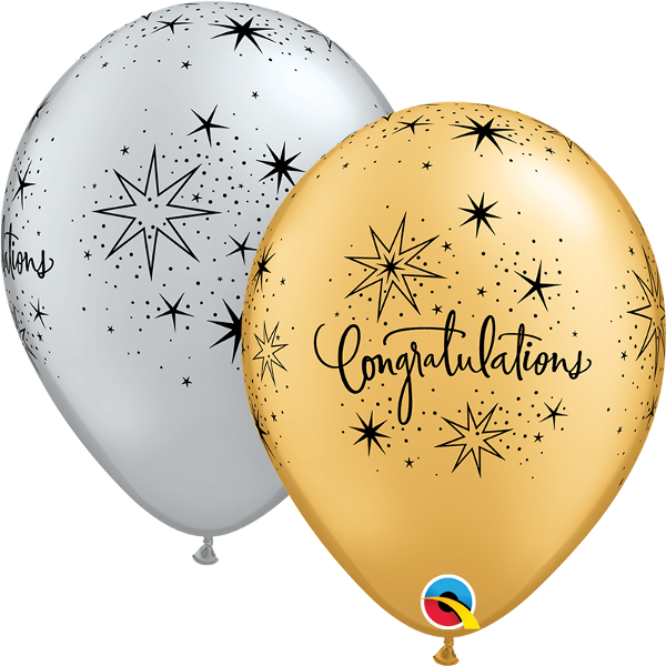 "11"" Congratulations Elegant (50 Per Bag) Latex Balloons"