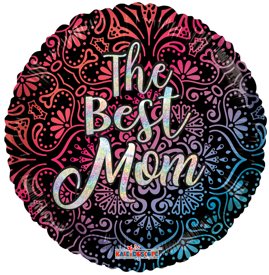"18"" The Best Mom Mandala Hollographic Foil Balloon"