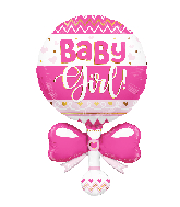 "36"" Baby Rattle Pink Shape Foil Balloon"